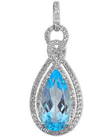 """Sky Blue Topaz (4 ct. t.w.) & White Topaz (1/2 ct. t.w.) Teardrop Pendant Necklace in Sterling Silver, 16"""" + 2"""" extender"""