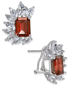 Rhodolite Garnet (6 ct. t.w.) & White Topaz (4-1/2 ct. t.w.) Drop Earrings in Sterling Silver