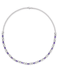 "Amethyst (7-1/2 ct. t.w.) & Diamond Accent Infinity Collar 16"" Necklace in Sterling Silver"