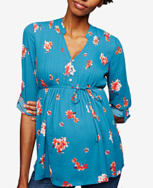 A Pea In The Pod Maternity Printed Roll-Sleeve Blouse