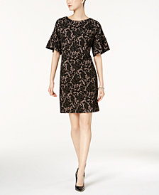 Ivanka Trump Bell-Sleeve Lace-Print Dress