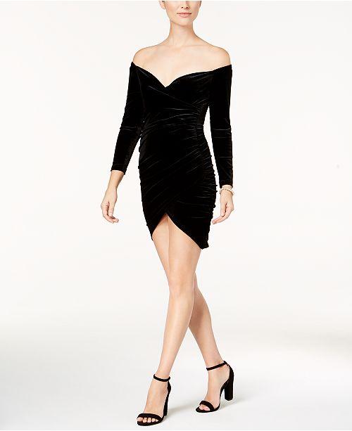 Bardot Velvet Off-The-Shoulder Wrap Dress