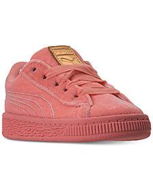 Puma Toddler Girls' Basket Classic Velour Casual Sneakers from Finish Line