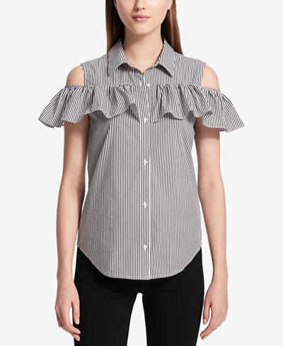 Calvin Klein Striped Cold-Shoulder Blouse
