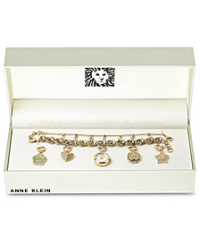 Anne Klein Women's Gold-Tone Chain Bracelet Watch 20mm Gift Set