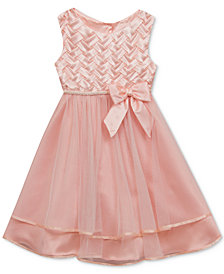 Rare Editions Basket Weave Bodice Dress, Little Girls