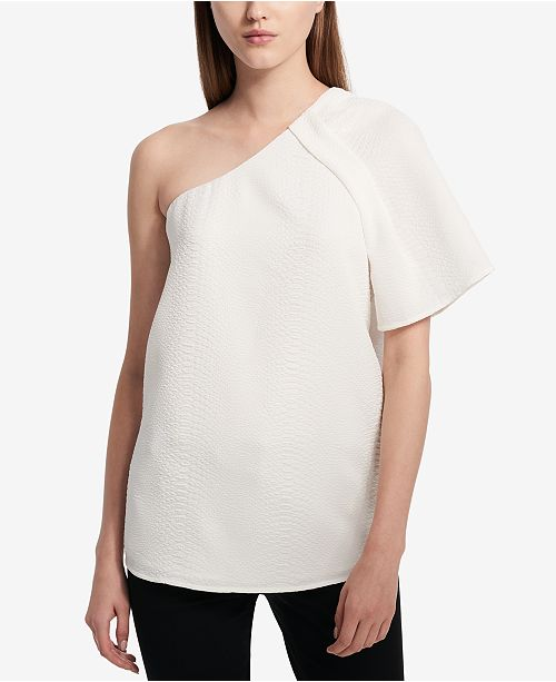 Textured One-Shoulder Top