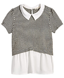 Monteau Layered-Look Striped Top, Big Girls