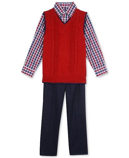 TFW 3-Pc. Sweater Vest, Shirt & Pants Set, Toddler Boys