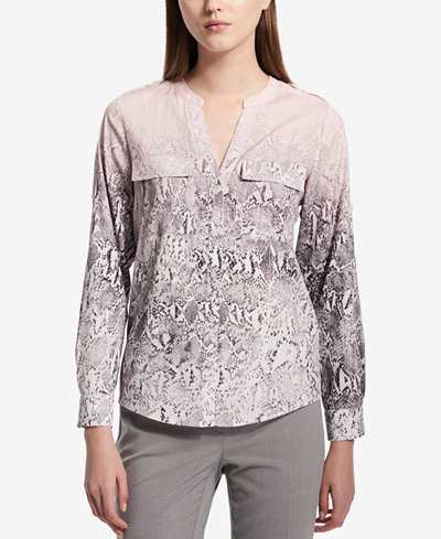 Calvin Klein Printed Roll-Sleeve Button-Front Blouse
