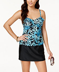 Island Escape Seaside Shades Printed Tankini Top  & High-Waist Swim Skirt, Created for Macy's