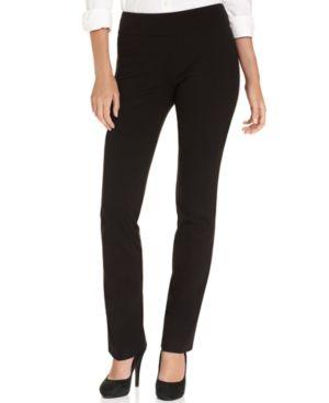 KAREN KANE Straight-Leg Pull-On Pants in Black