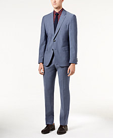 HUGO Men's Slim-Fit Blue Chambray Suit