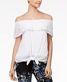 Thalia Sodi Off-The-Shoulder Tie-Hem Gauze Top, Created for Macy's