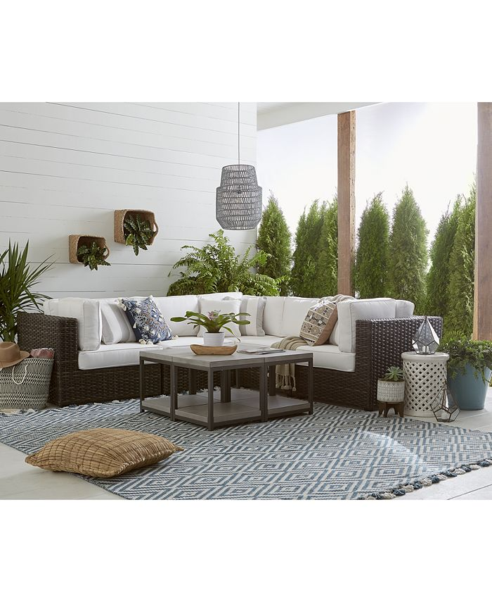 Furniture - Viewport Outdoor 5-Pc. Modular Seating Set (3 Corner Units and 2 Armless Units) with Sunbrella® Cushions