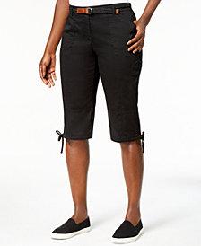 Karen Scott Petite Twill Tie-Hem Bermuda Skimmers, Created for Macy's