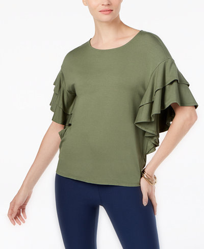 Cable & Gauge Ruffle-Sleeve Top