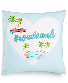 "Whim by Martha Stewart Collection #Weekend 18"" Square Decorative Pillow, Created for Macy's"