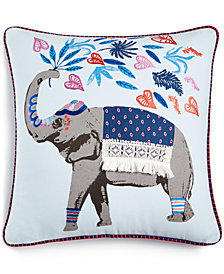 "CLOSEOUT! Whim by Martha Stewart Collection Gentle Giant Embroidered Graphic Print 18"" Square Decorative Pillow, Created for Macy's"