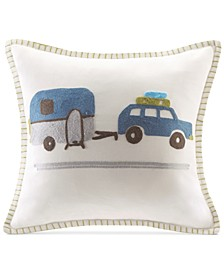 """Road Trip Embroidered 16"""" Square Decorative Pillow"""