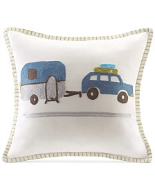 "INK+IVY Kids' Road Trip Embroidered 16"" Square Decorative Pillow"
