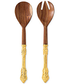 Shiraleah Antico Wood Salad Servers, Set of 2