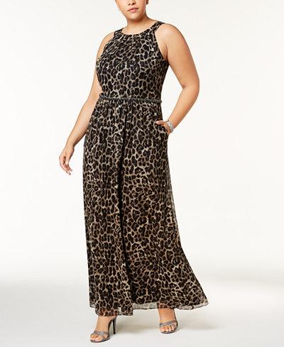 SL Fashions Plus Size Embellished Metallic-Stripe Printed Dress
