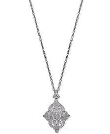 Diamond Fancy Pendant Necklace (1/7 ct. t.w.) in Sterling Silver