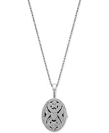 Diamond Oval Locket Pendant Necklace (3/8 ct. t.w.) in Sterling Silver