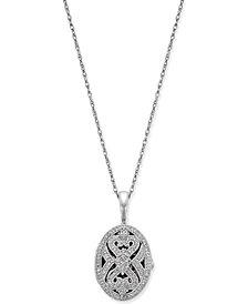 Diamond Oval Locket Pendant Necklace (3/8 ct. t.w.) in Sterling Silver