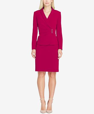 Tahari Asl Shawl Collar Asymmetrical Skirt Suit Wear To Work