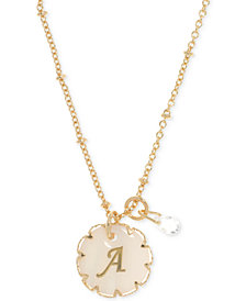 lonna & lilly Gold-Tone Crystal & Initial Pendant Necklace