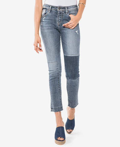Silver Jeans Co. Izzy Cotton Ripped Colorblocked Skinny Jeans