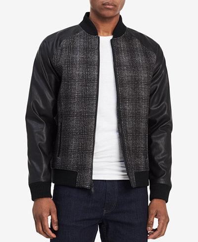Calvin Klein Men's Checked Multi-Media Baseball Jacket