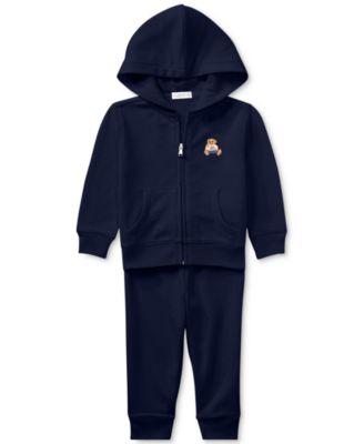 폴로 랄프로렌 Polo Ralph Lauren Baby Boys Bear Hoodie & Pants Set,French Navy