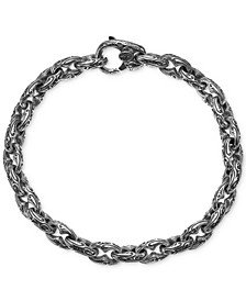 Men's Engraved Link Bracelet in Sterling Silver