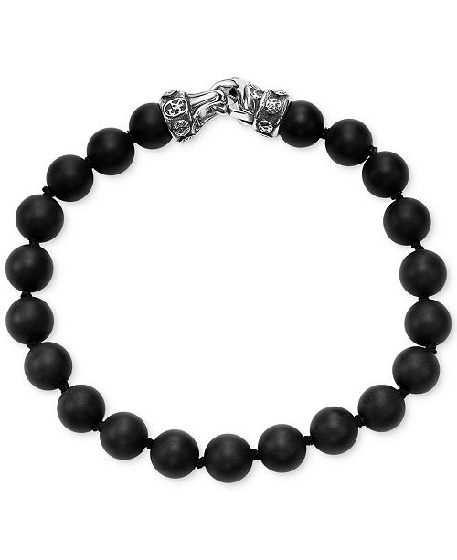 Scott Kay Men's Onyx Bead Link Bracelet, (Also in Red Tiger's Eye)