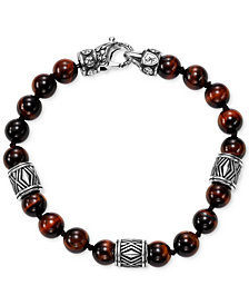 Scott Kay Men's Red Tiger's Eye Bead Bracelet with Sterling Silver Accents