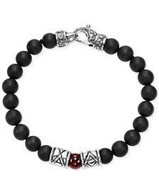 Scott Kay Men's Onyx & Red Agate Bead Bracelet with Sterling Silver Accents