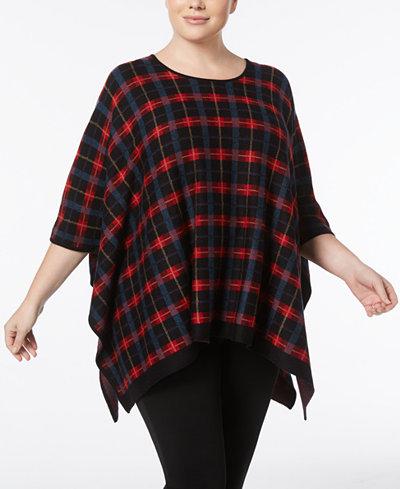 Anne Klein Plus Size Plaid Poncho Sweater