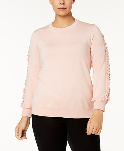Calvin Klein Plus Size Ruffle-Trim-Sleeve Sweater