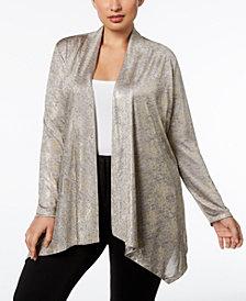 Calvin Klein Plus Size Metallic-Knit Open Cardigan