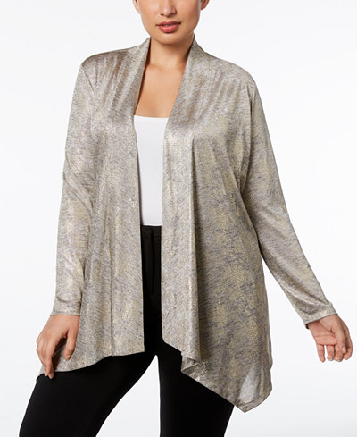Calvin Klein Plus Size Metallic-Knit Open Cardigan
