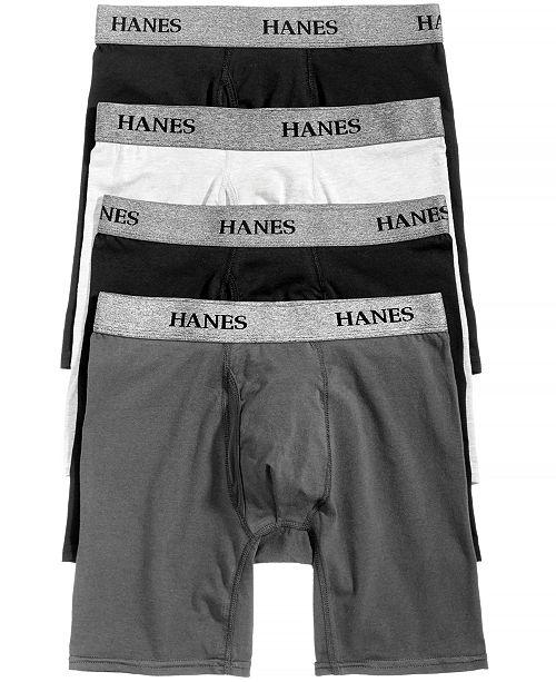 Hanes Men s 4-Pk. Platinum Stretch Boxer Briefs - Underwear   Socks ... 0ed147dfed