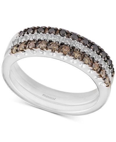 Confetti by EFFY® Diamond Three-Row Ring (1/2 ct. t.w.) in 14k White Gold