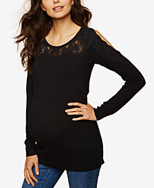 Motherhood Maternity Lace-Trim Cold-Shoulder Sweater