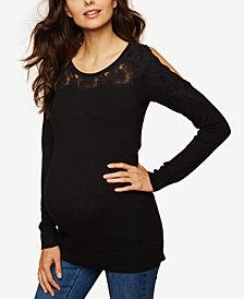 Motherhood Maternity Lace-Trim Cold-Shoulder Sweater