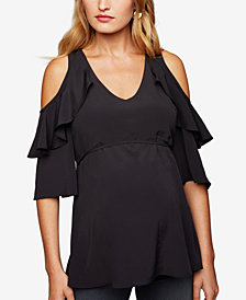 A Pea In The Pod Maternity Ruffled Cold-Shoulder Top