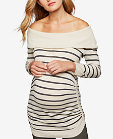 A Pea In The Pod Maternity Ruched Off-the-Shoulder Sweater