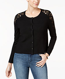 Charter Club Petite Lace-Trim Cardigan, Created for Macy's
